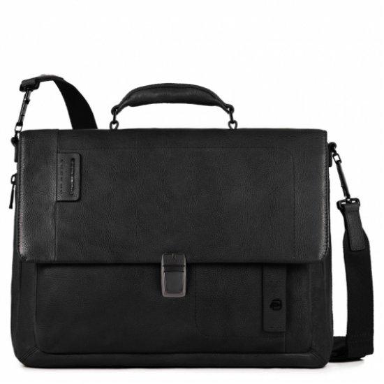 Бизнес чанта за 15 инча ноутбук с едно отделение и разширение черен цвят - Мъжки бизнес чанти