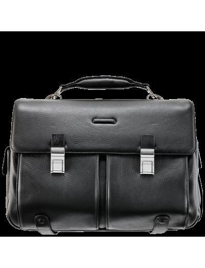 Modus Хоризонтална, бизнес чанта за 15 инча лаптоп с две отделения в черен цвят  - Мъжки бизнес чанти