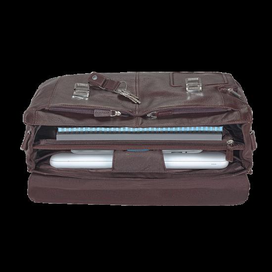 Vibe Хоризонтална, бизнес чанта с две отделения в тъмно кафяв цвят - Мъжки бизнес чанти