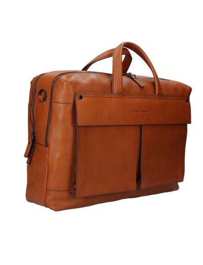 KOLYMA Бизнес чанта за документи с две отделения в светло кафяв цвят  - Бизнес чанти