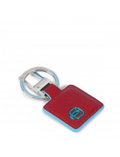 Blue Square Луксозен ключодържател естествена кожа в червен цвят - Ключодържатели