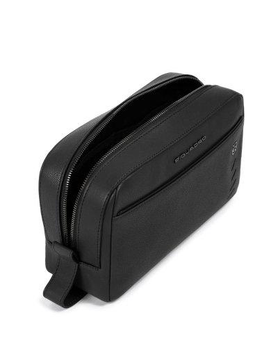 Nabucco Несесер от естествена кожа в черен цвят - Мъжки портфейли