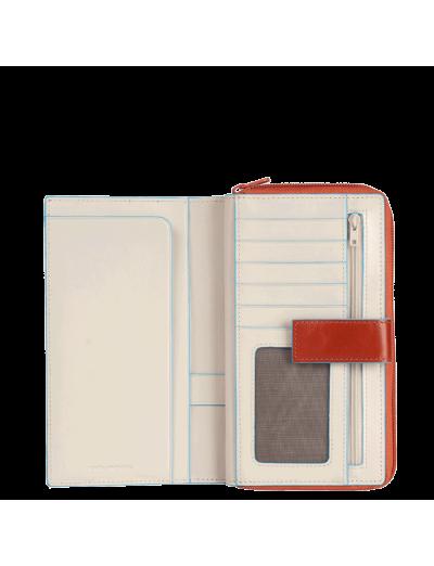 Blue Square Луксозен дамски портфейл от естествена кожа в цвят оранжево с бежово - Сравняване на продукти