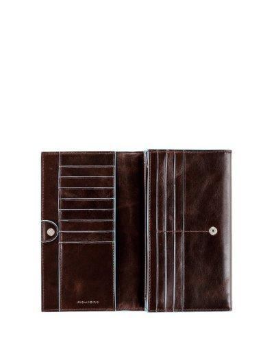 Blue Square Луксозен дамски портфейл от естествена кожа затваря се с прихлупване в цвят махагон - Дамски портфейли