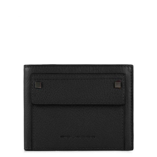 KOLYMA Мъжки портфейл от естествена кожа с отделения за карти в черен цвят - Мъжки портфейли
