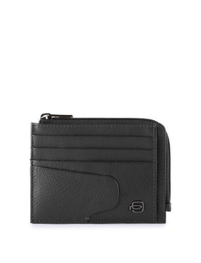 AKRON кожен портфейл за документи, карти и монети в черен цвят - AKRON