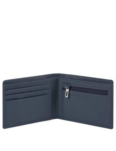 AKRON Тънък мъжки портфейл с отделение за монети в син цвят - AKRON