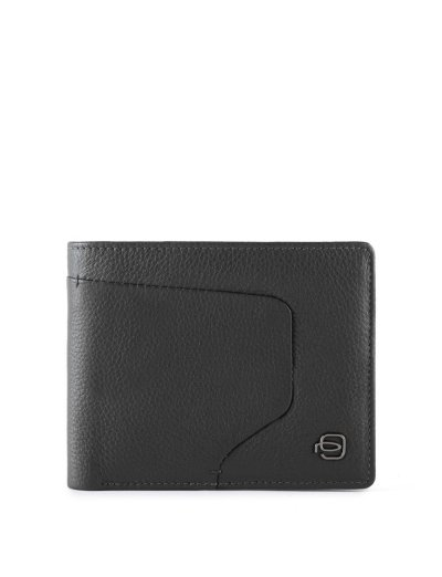 AKRON Тънък мъжки портфейл с отделение за монети в черен цвят - Аксесоари