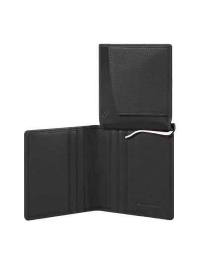 AKRON Вертикален, мъжки портфейл от естествена кожа и RFID в черен цвят - AKRON