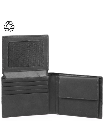 Tiros Мъжки портфейл с отделение за монети и карти в сив цвят - Мъжки портфейли