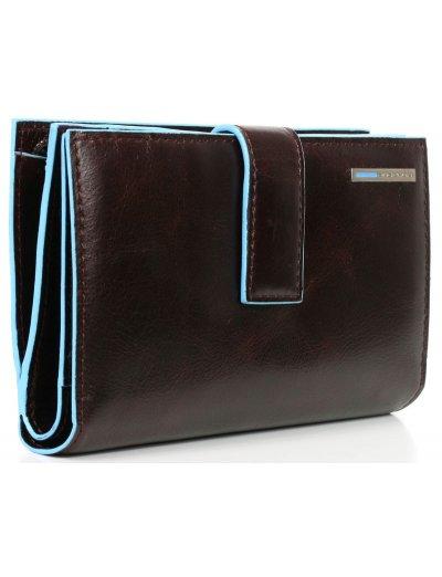Blue Square Луксозен дамски портфейл от естествена кожа в цвят махагон - Blue Square