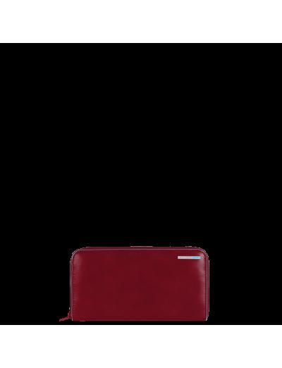 Blue Square Луксозен дамски портфейл от естествена кожа затваря се с цип в тъмно червен цвят - Дамски портфейли