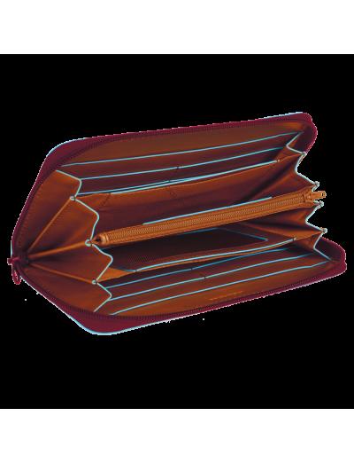 Blue Square Луксозен дамски портфейл от естествена кожа затваря се с цип в тъмно червен цвят - Сравняване на продукти