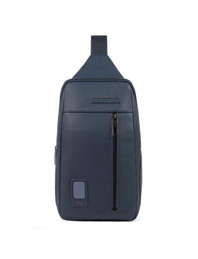 AKRON Раница с една презрамка и отделение за iPad MINI_ MINI 2_ iPad MINI 3 в син цвят - AKRON