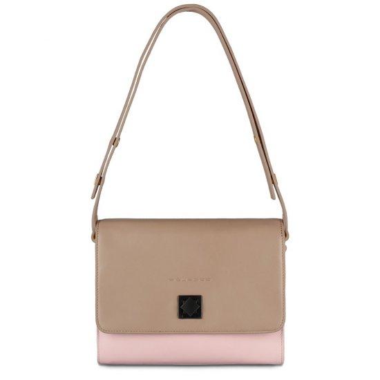 Хоризонтална дамска чанта за през рамо в цвят пепел от рози - Дамски бизнес чанти