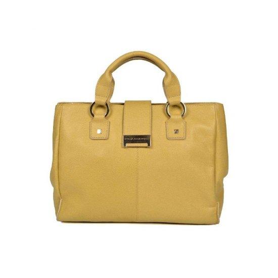 Елегантна дамска чанта с една преграда в пастелно жълт цвят - Дамски бизнес чанти