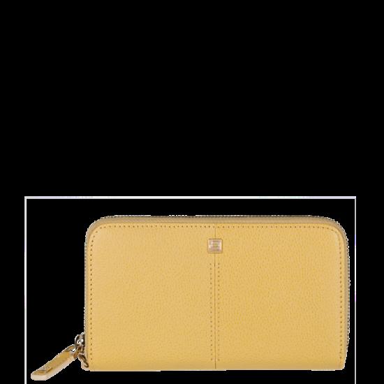 Хоризонтален дамски портфейл с отделение за iPhone5 в пастелно жълт цвят - Дамски портфейли