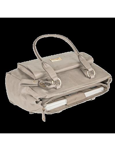 Елегантна дамска чанта с три прегради в бежов цвят - Сравняване на продукти