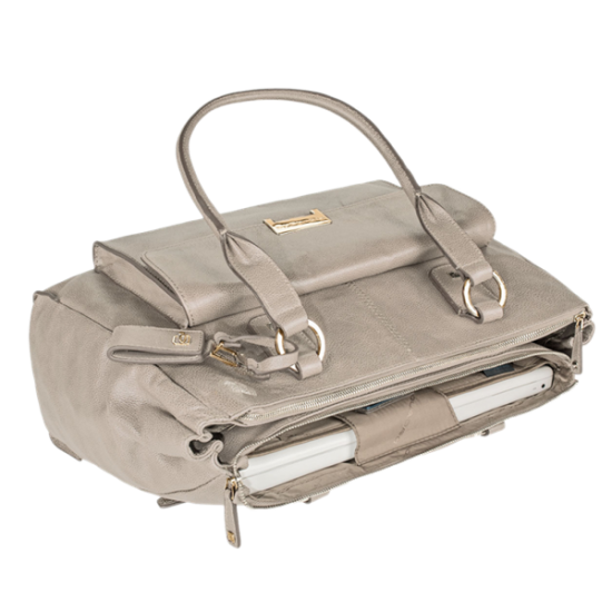 Елегантна дамска чанта с три прегради в бежов цвят - Дамски портфейли
