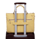 Елегантна дамска чанта с три прегради в пастелно жълт цвят - Дамски бизнес чанти
