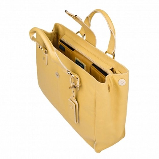 Елегантна дамска чанта с една преграда в светло син цвят - Дамски бизнес чанти