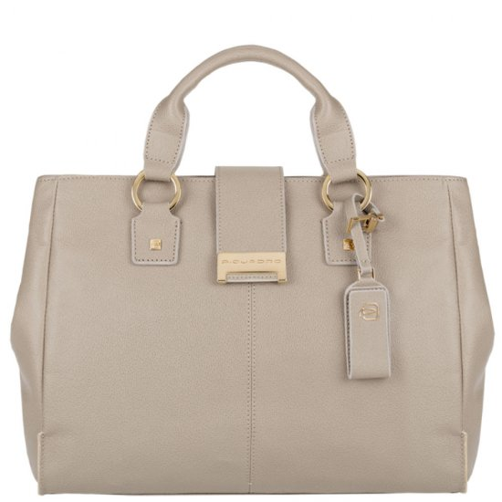 Елегантна дамска чанта с една преграда в бежов цвят - Дамски бизнес чанти
