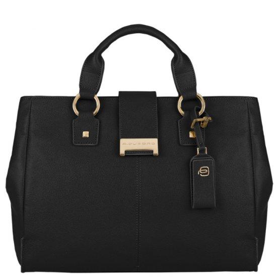 Елегантна дамска чанта с една преграда в черен цвят - Дамски бизнес чанти